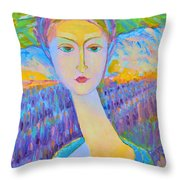 Lavender Lady Art Deco, Decorative Woman Painting, Woman Figure Print For Sale. Pretty Girl Canvas  Throw Pillow