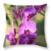 Lavender Orchids Throw Pillow