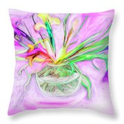 Lavender Orchids Painting Throw Pillow