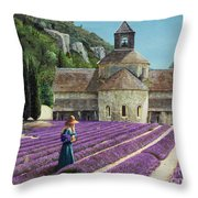 Lavender Picker - Abbaye Senanque - Provence Throw Pillow
