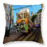 Lavra Funicular, Lisbon, Portugal Throw Pillow