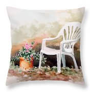 Lawn Chair With Flowers Throw Pillow