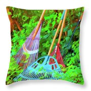 Lawn Tools Throw Pillow