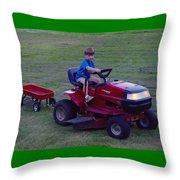Lawnmower Boy Throw Pillow