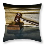 Lawyer - The Judge's Gavel Throw Pillow by Paul Ward