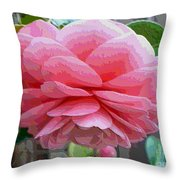 Layers Of Pink Camellia - Digital Art Throw Pillow