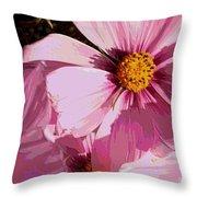Layers Of Pink Cosmos - Digital Art Throw Pillow
