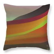 Layers Of Red, Brown, Green Throw Pillow