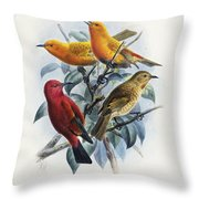 Laysan Honeycreeper Throw Pillow
