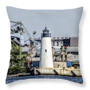 Lazaretto Point Lighthouse Throw Pillow