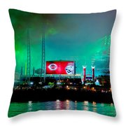 Laser Green Smoke And Reds Stadium Throw Pillow