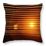 Lazy Summer Afternoon With Sunset View Through The Wooden Window Shades Throw Pillow