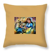 Lazy Time - Palette Knife Oil Painting On Canvas By Leonid Afremov Throw Pillow