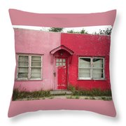 Lazy U Motel - Pink And Red Throw Pillow