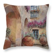 Le Arcate In Cortile Throw Pillow by Guido Borelli