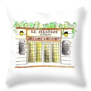 Le Bistrot Henri Throw Pillow
