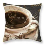 Le Cafe Dark Throw Pillow