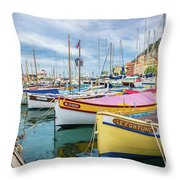 Le Fortune At Nice Harbor, France Throw Pillow