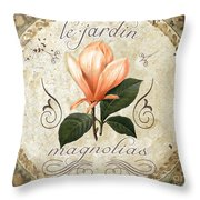 Le Jardin Magnolias Throw Pillow