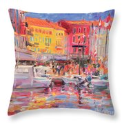 Le Port De St Tropez Throw Pillow by Peter Graham