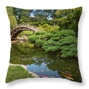 Lead The Way - The Beautiful Japanese Gardens At The Huntington Library With Koi Swimming. Throw Pillow