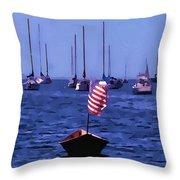 Leader Of The Pack- Bristol Rhode Island Oil Effect Throw Pillow