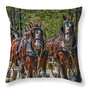 Leading The Way-budweiser Clydesdales Throw Pillow