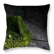 Leaf Droplets Throw Pillow