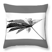 Leaf In Black And White Throw Pillow