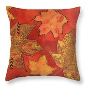 Leaf Prints And Zentangles Throw Pillow