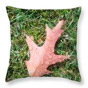 Leaf Resisting The Rain Throw Pillow
