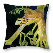 Leafy Sea Dragon Throw Pillow by Mariola Bitner