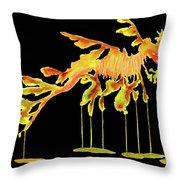 Leafy Sea Dragon On Black Throw Pillow