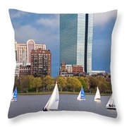 Lean Into It- Sailboats By The Hancock On The Charles River Boston Ma Throw Pillow