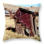 Leaning Bodie Outhouse Throw Pillow