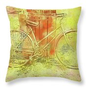 Leaning In Bicycle Throw Pillow
