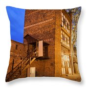 Leaning Tower By Night In Torun Throw Pillow
