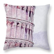 Leaning Tower Of Pisa - 03 Throw Pillow
