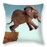 Leap Of Faith Concept Elephant Jumping Into A Void Throw Pillow