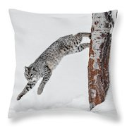 Leapin Bobcat Throw Pillow