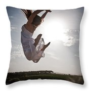 Leaping For The Sun Throw Pillow