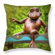 Leaping Frog In Boston  Throw Pillow