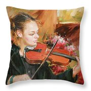 Learning The Violin Throw Pillow