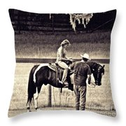 Learning To Ride Sepia Throw Pillow