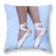 Learning To Walk In Dance World With Pink Pointe Shoes Throw Pillow
