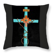 Leather And Stone Cross Throw Pillow