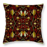 Leather In Floral Harmony And Peace Throw Pillow