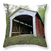 Leatherwood Station Covered Bridge Indiana Throw Pillow