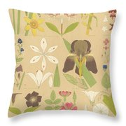 Leaves And Flowers From Nature Throw Pillow