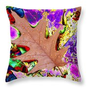 Leaves And Rain 4 Throw Pillow
